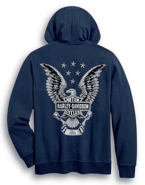 Harley-Davidson Men's Freedom Zip-Front Fleece Hoodie - Dress Blue 99032-20VM - Wisconsin Harley-Davidson