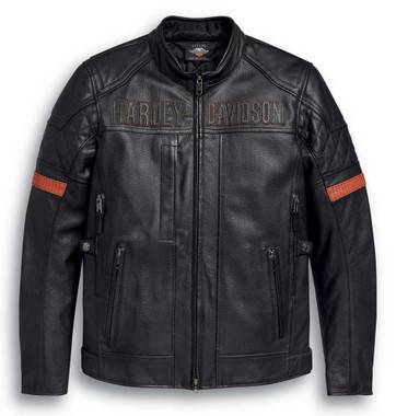 Harley-Davidson Men's Vanocker Waterproof Triple Vent Leather Jacket 98000-20VM - Wisconsin Harley-Davidson
