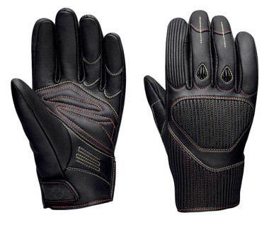 Harley-Davidson Men's Watt Goatskin Leather Full-Finger Gloves, Black 98120-20VM - Wisconsin Harley-Davidson