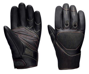 Harley-Davidson Men's Watt Goatskin Leather Full-Finger Gloves, Black 98120-20VM - Wisconsin Harley-Davidson