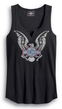 Harley-Davidson Women's Freedom Notch-Neck Sleeveless Tank - Black 99044-20VW - Wisconsin Harley-Davidson