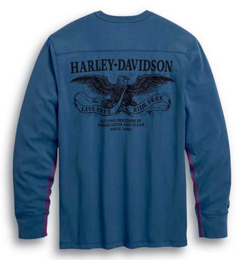 Harley-Davidson Men's Freedom Long Sleeve Cotton Henley - Ensign Blue 99025-20VM - Wisconsin Harley-Davidson