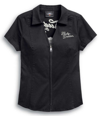 Harley-Davidson Women's Freedom Zip-Front Short Sleeve Casual Shirt 99037-20VW - Wisconsin Harley-Davidson