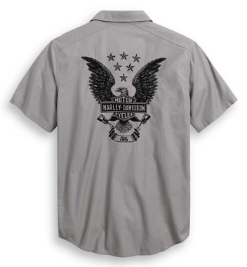 Harley-Davidson Men's Freedom Short Sleeve Woven Shirt - Gray 99013-20VM - Wisconsin Harley-Davidson