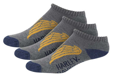 Harley-Davidson Womens Low Cut Wing Moisture Wicking Riding Socks, 3 Pairs, Gray - Wisconsin Harley-Davidson