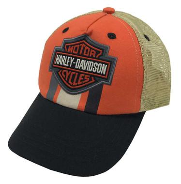 Harley-Davidson Little Boys' Embroidered B&S Trucker Baseball Cap Orange 7283943 - Wisconsin Harley-Davidson