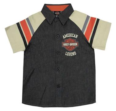 Harley-Davidson Little Boys' B&S Legend Short Sleeve Denim Shop Shirt 1083965 - Wisconsin Harley-Davidson