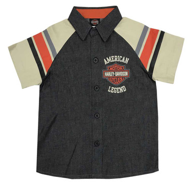 Harley-Davidson Little Boys' B&S Legend Short Sleeve Denim Shop Shirt 1083965 - Wisconsin Harley-Davidson