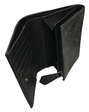 Harley-Davidson Women's Garage Burnished Leather 6 in Tri-Fold Wallet, Tan/Black - Wisconsin Harley-Davidson