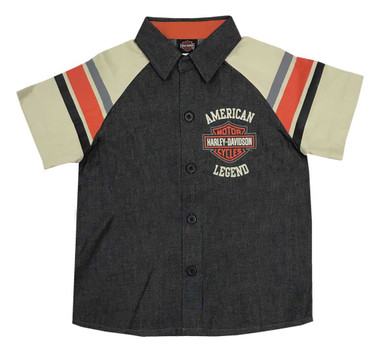 Harley-Davidson Little Boys' B&S Legend Short Sleeve Denim Shop Shirt 1073965 - Wisconsin Harley-Davidson