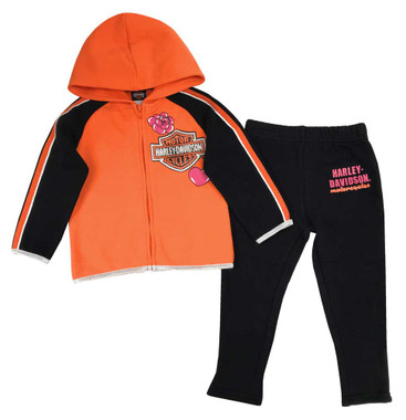 Harley-Davidson Little Girls' 2-Piece Fleece Jogger Set, Orange & Black 2023927 - Wisconsin Harley-Davidson