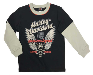 Harley-Davidson Little Boys' Jersey Long Sleeve Double Layer Shirt,Black 1073961 - Wisconsin Harley-Davidson