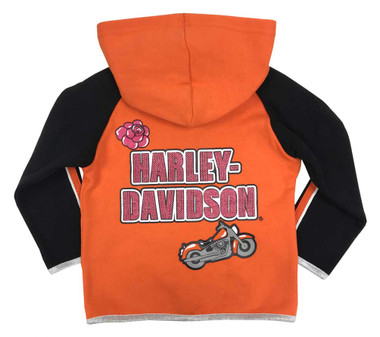 Harley-Davidson Baby Boys Orange /& Gray 3-D Bear Hood Fleece Hoodie 6554907