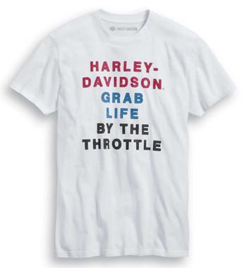 Harley-Davidson Men's Throttle Slim Fit Short Sleeve T-Shirt, White 99020-20VM - Wisconsin Harley-Davidson