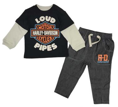 Harley-Davidson Baby Boys' Infant Denim Pant Set w/ Long Sleeve Shirt 2063903 - Wisconsin Harley-Davidson