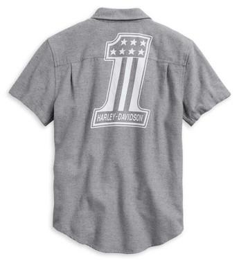 Harley-Davidson Men's #1 Graphic Short Sleeve Casual Shirt - Gray 99006-20VM - Wisconsin Harley-Davidson