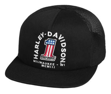 Harley-Davidson Men's #1 Trucker Adjustable Baseball Cap - Black 99400-20VM - Wisconsin Harley-Davidson
