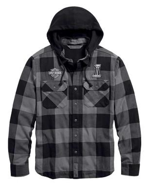Harley-Davidson Men's Lined Hooded Plaid Slim Fit Shirt Jacket 99007-20VM - Wisconsin Harley-Davidson