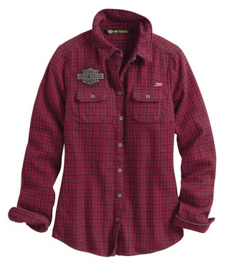 Harley-Davidson Women's Studded Plaid Long Sleeve Shirt - Red 99038-20VW - Wisconsin Harley-Davidson