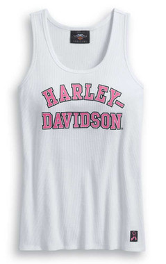 Harley-Davidson Womens Pink Label Rib-Knit Sleeveless Tank Top, White 99057-20VW - Wisconsin Harley-Davidson