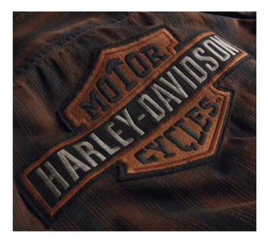 Harley-Davidson Men's Plaid Slim Fit Short Sleeve Shirt - Brown 99018-20VM - Wisconsin Harley-Davidson