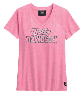Harley-Davidson Women's Pink Label V-Neck Short Sleeve T-Shirt - Pink 99054-20VW - Wisconsin Harley-Davidson