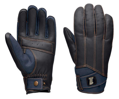 Harley-Davidson Men's Arterial Perforated Leather & Denim Gloves 98119-20VM - Wisconsin Harley-Davidson