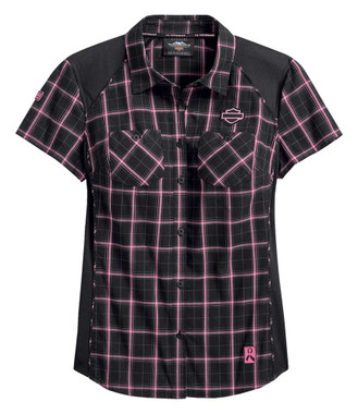 Harley-Davidson Women's Pink Label Performance Plaid Shirt - Black 99040-20VW - Wisconsin Harley-Davidson