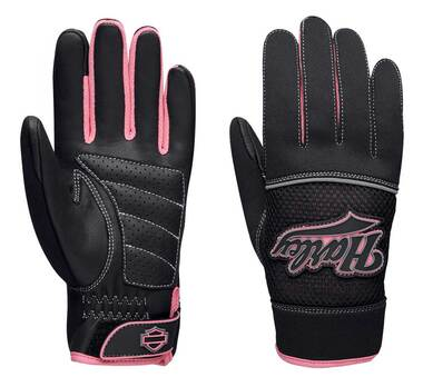 Harley-Davidson Women's Pink Label Mixed Media Full-Finger Gloves 98131-20VW - Wisconsin Harley-Davidson