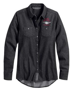 Harley-Davidson Women's #1 Denim Long Sleeve Casual Shirt - Black 99035-20VW - Wisconsin Harley-Davidson