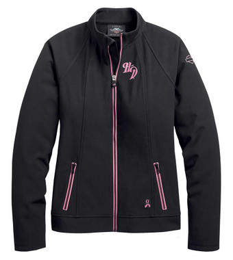 Harley-Davidson Women's Pink Label Soft Shell Casual Jacket - Black 98405-20VW - Wisconsin Harley-Davidson
