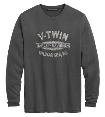 Harley-Davidson Men's V-Twin Slim Fit Long Shirt T-Shirt - Ebony Gray 99019-20VM - Wisconsin Harley-Davidson