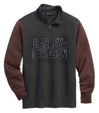 Harley-Davidson Men's Colorblocked 1/4-Zip Slim Fit Pullover 99030-20VM - Wisconsin Harley-Davidson