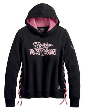 Harley-Davidson Women's Pink Label Side-Laced Pullover Hoodie - Black 99066-20VW - Wisconsin Harley-Davidson