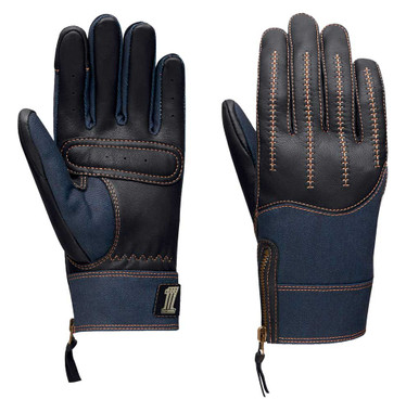 Harley-Davidson Women's Arterial Leather & Denim Full-Finger Gloves 98130-20VW - Wisconsin Harley-Davidson
