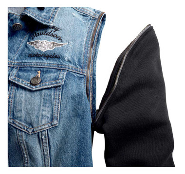Harley-Davidson Women's Zip-Off Sleeve Denim Jacket - Indigo Wash 98402-20VW - Wisconsin Harley-Davidson