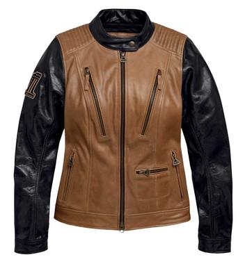 Harley-Davidson Womens Arterial Colorblocked Buffalo Leather Jacket 98005-20VW - Wisconsin Harley-Davidson