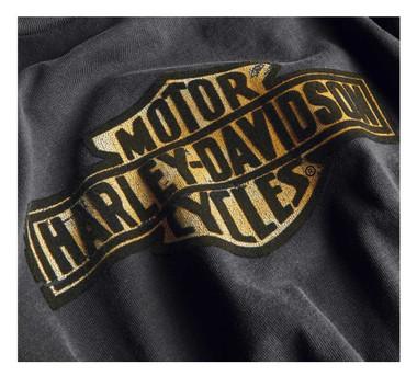 Harley-Davidson Women's Flocked Logo Short Sleeve T-Shirt - Espresso 99047-20VW - Wisconsin Harley-Davidson