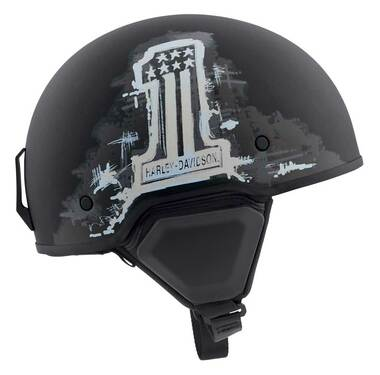 Harley-Davidson Men's Arterial #1 Flag B12 Half Helmet - Matte Black 98109-20VX - Wisconsin Harley-Davidson