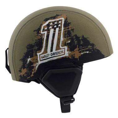 Harley-Davidson Men's Arterial Canvas B12 Half Helmet, Military Green 98110-20VX - Wisconsin Harley-Davidson
