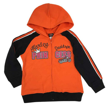 Harley-Davidson Little Girls' Glitter Princess Fleece Zip Hoodie, Orange 6523971 - Wisconsin Harley-Davidson