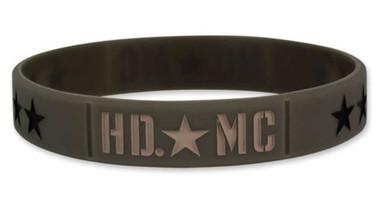 Harley-Davidson Debossed Military Star Silicone Wristband, Olive Green WB34353 - Wisconsin Harley-Davidson