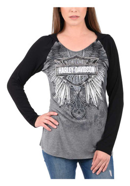 Harley-Davidson Women's Embellished Colorblocked Long Sleeve Hooded T-Shirt - Wisconsin Harley-Davidson