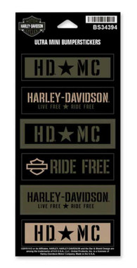Harley-Davidson Military Star Ultra Mini Bumper Stickers, 6 Per Sheet BS34394 - Wisconsin Harley-Davidson
