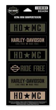 Harley-Davidson Military Star Ultra Mini Bumper Stickers, 6 Per Sheet BS34394 - Wisconsin Harley-Davidson
