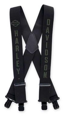 Harley-Davidson Men's Military B&S Suspenders, 3 Size Length Choices - Black - Wisconsin Harley-Davidson