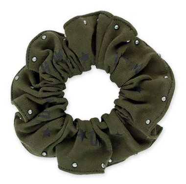 Harley-Davidson Womens Military Star Studded Hair Scrunchie, Olive Green HS34353 - Wisconsin Harley-Davidson