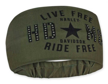 Harley-Davidson Women's Military Star Studded Headband Scrunchie - Green HE34394 - Wisconsin Harley-Davidson