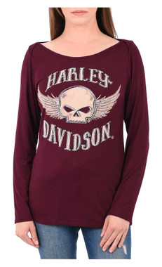 Harley-Davidson Women's Rocking Willie Embellished Long Sleeve Scoop Neck Top - Wisconsin Harley-Davidson