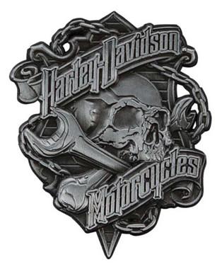 Harley-Davidson Grim Skull 3D Die Cast Struck Pin, Antique Nickel Silver P341123 - Wisconsin Harley-Davidson